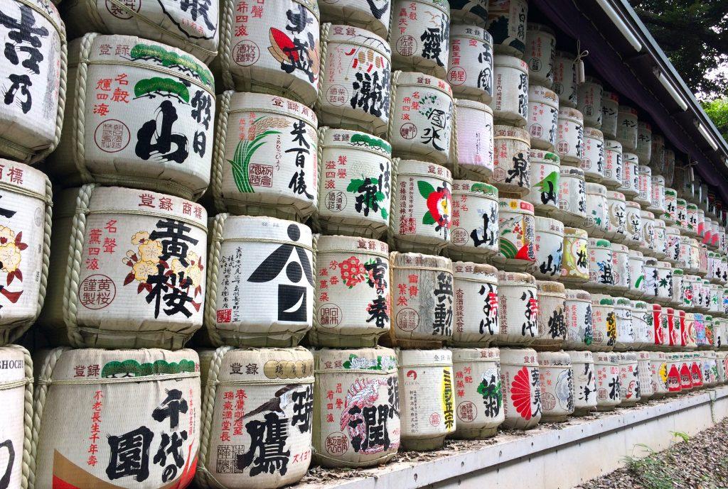 Sake Barrels (sakedaru) at Meiji Shrine in Tokyo
