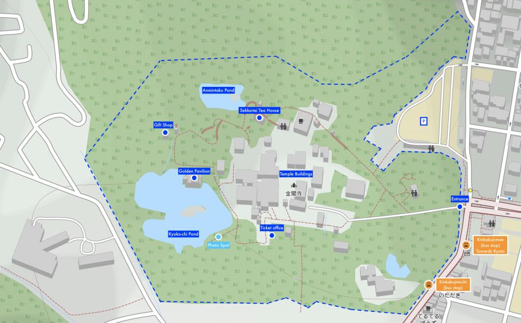 Kinkaku-ji (Golden Pavilion Temple) Area Map