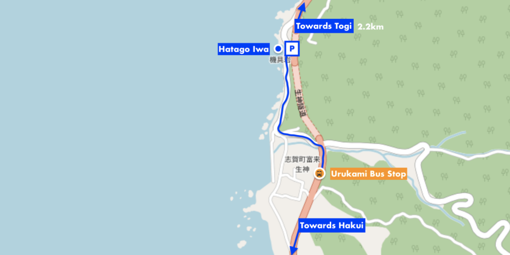 Hatago Iwa bus and road map, Noto Peninsula
