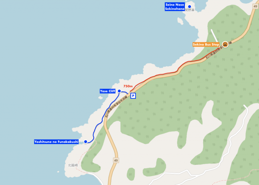Map of Yase Cliff, Yoshitsune no Funakakushi, Sekinohana Seino Nose and Sekino Bus Stop