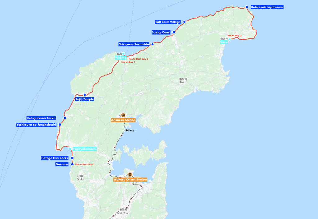 Map of 2-day itinerary for Noto Peninsula