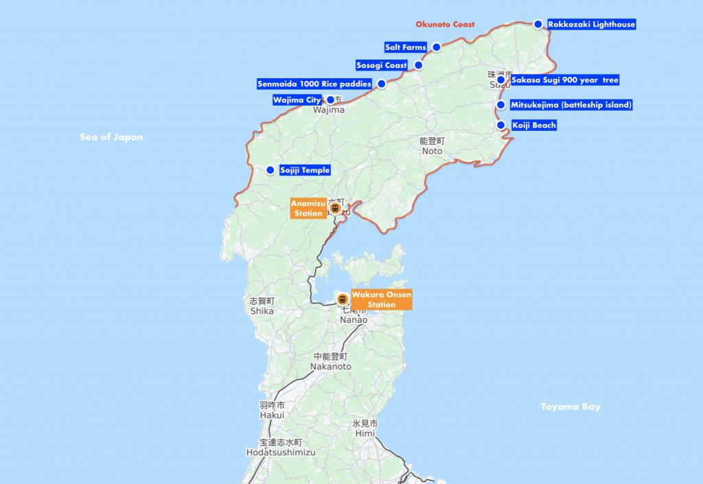 Okunoto Coast Map