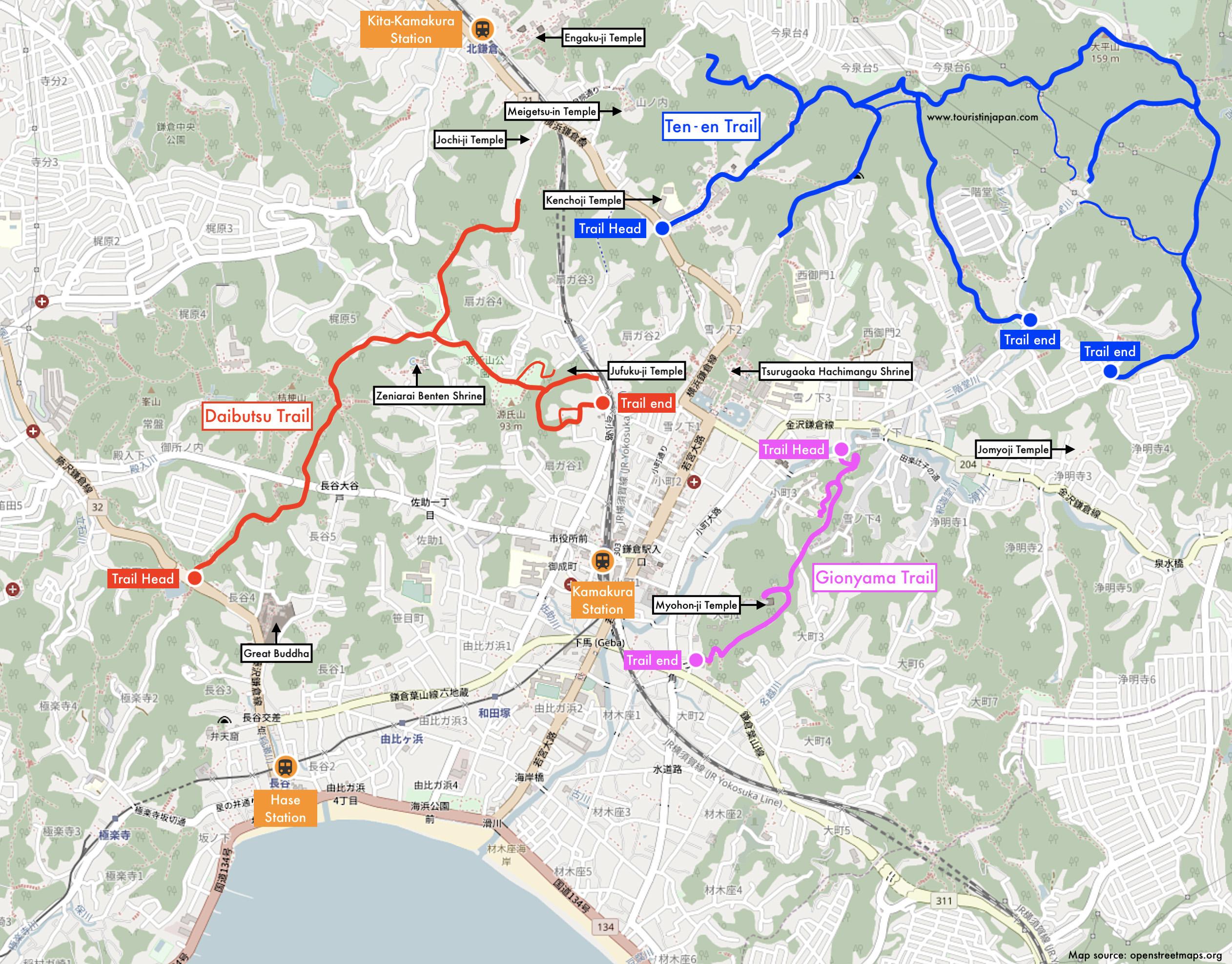 Kamakura Hiking Trails Map