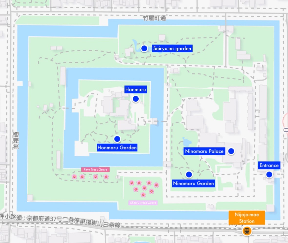 Map of Nijo Castle, Kyoto