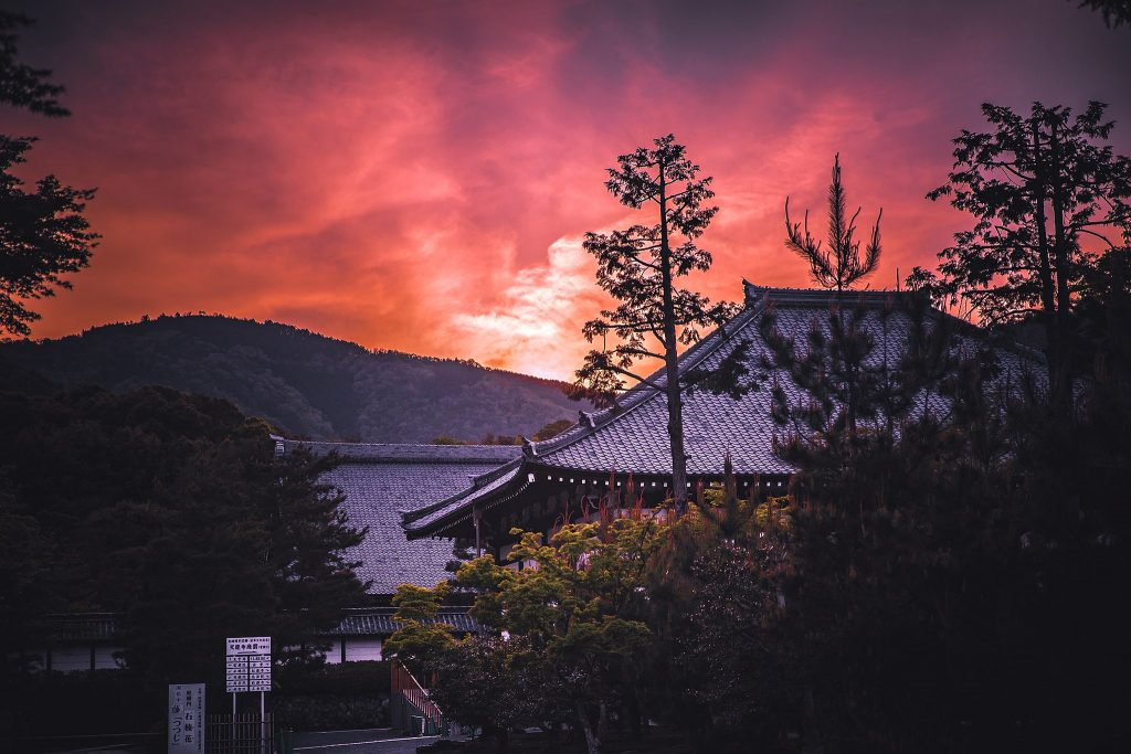 Sunset at Tenryuji. Public Domain.