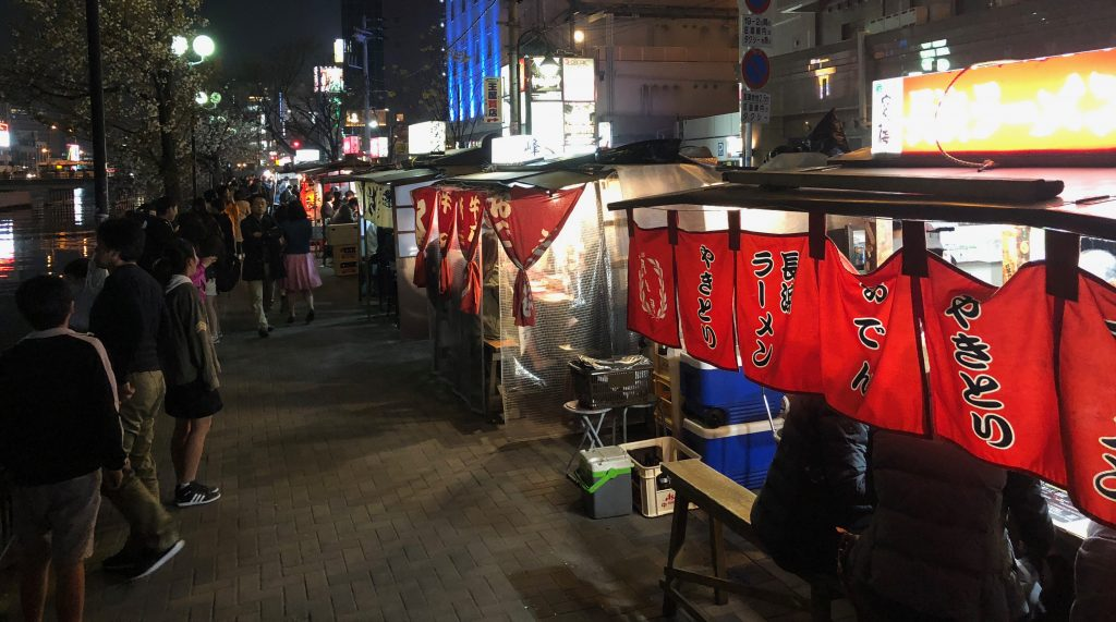 Yatai street food stalls along the river at Nakasu Island