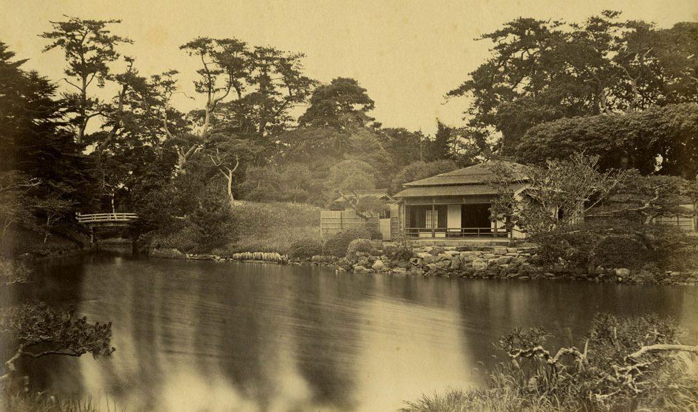 Hamarikyu Garedens in 1863. Cropped.