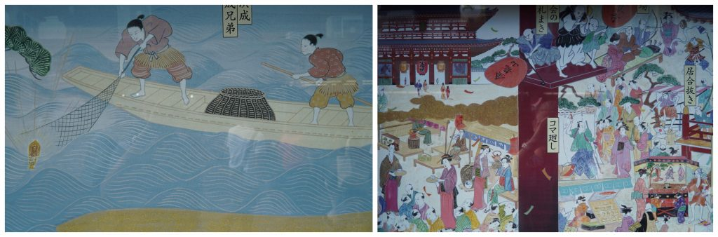 Artwork narrating the history of senso-ji temple.