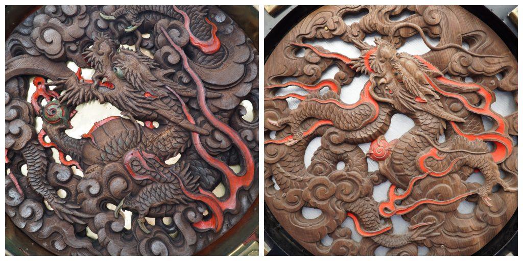 Dragon carvings under lanterns at Senso-ji temple