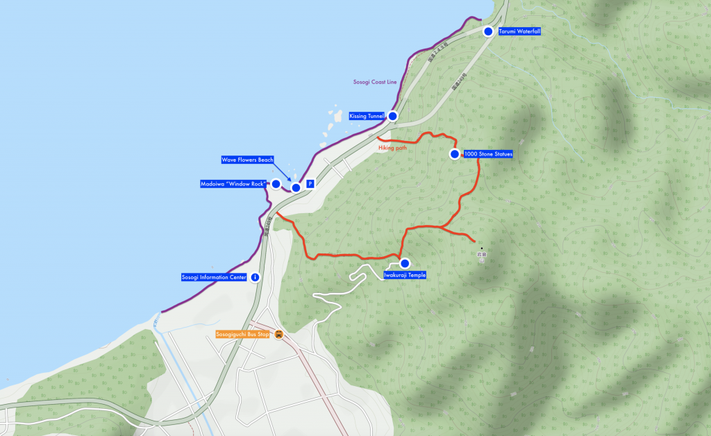 Map of Sosogi Coast, Madoiwa Rock