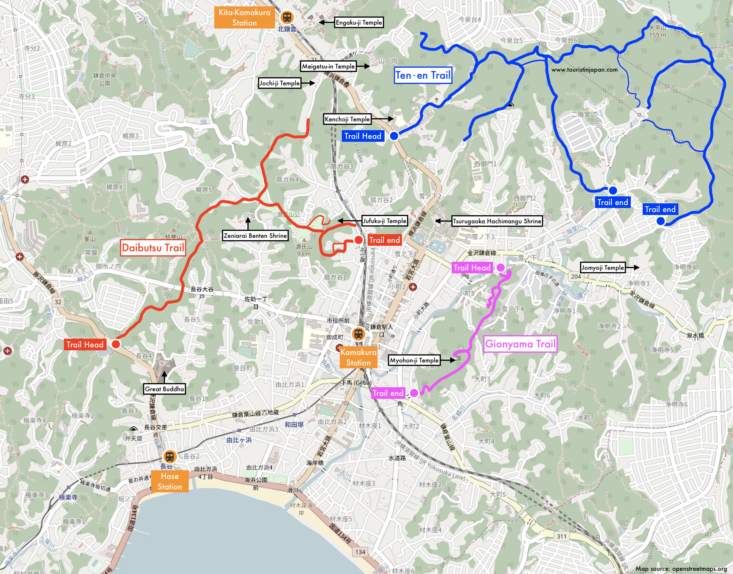 Kamakura Hiking Trails Map