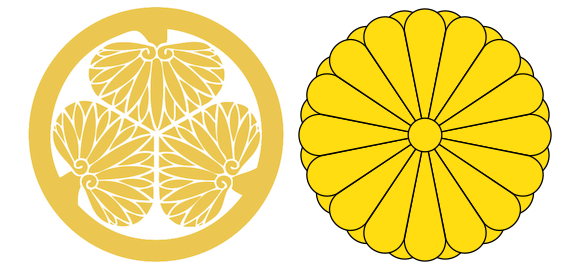 Left: Tokugawa Family Crest. Right: Imperial Chrysanthemum Crest. Derived from Public Domain works.