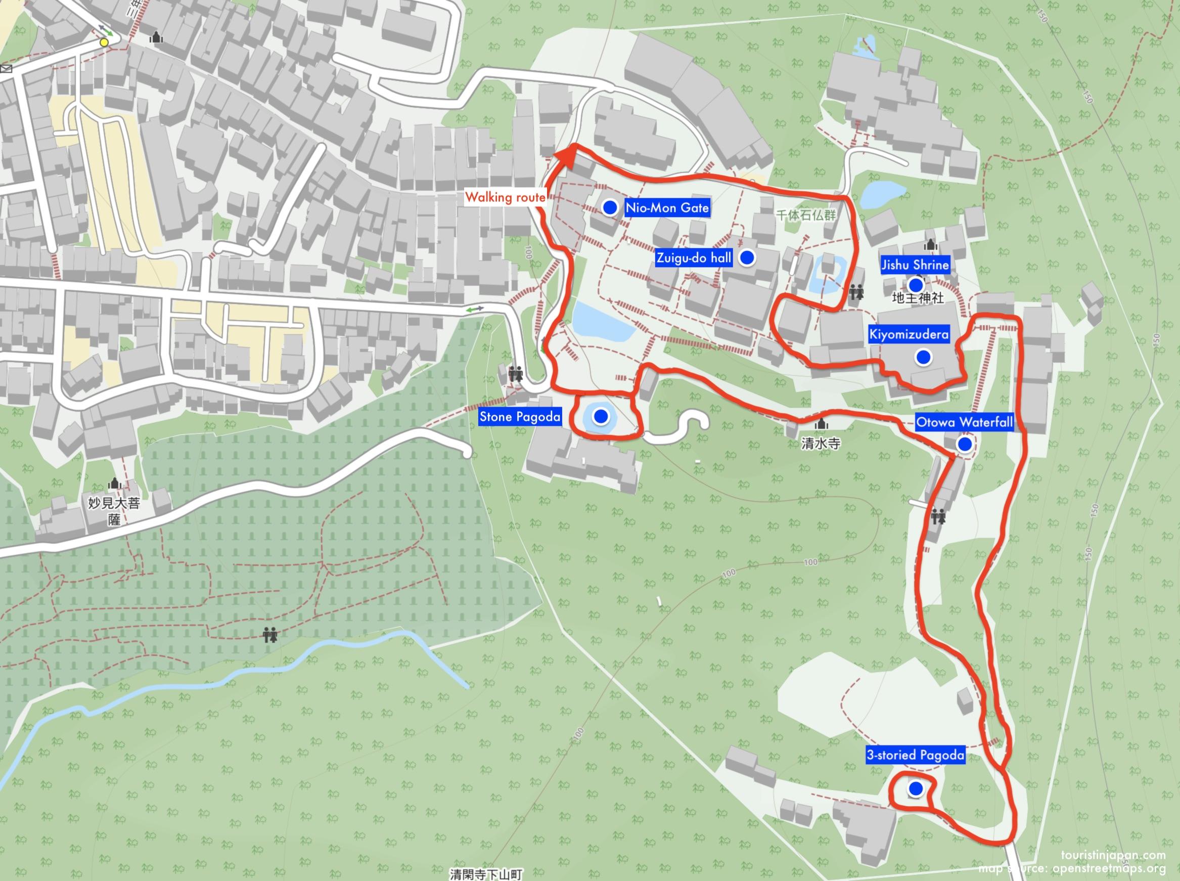 Walking map of Kiyomizudera.