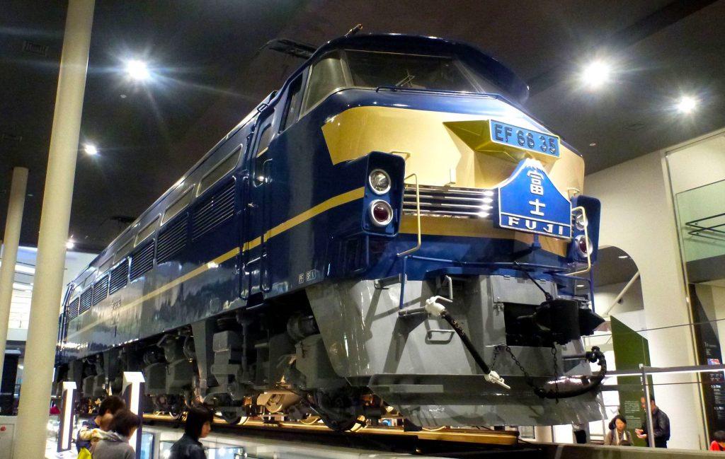 Train Fuji at Kyoto Railway Museum. Credit: Kzaral. Licensed under CC. Original modified.