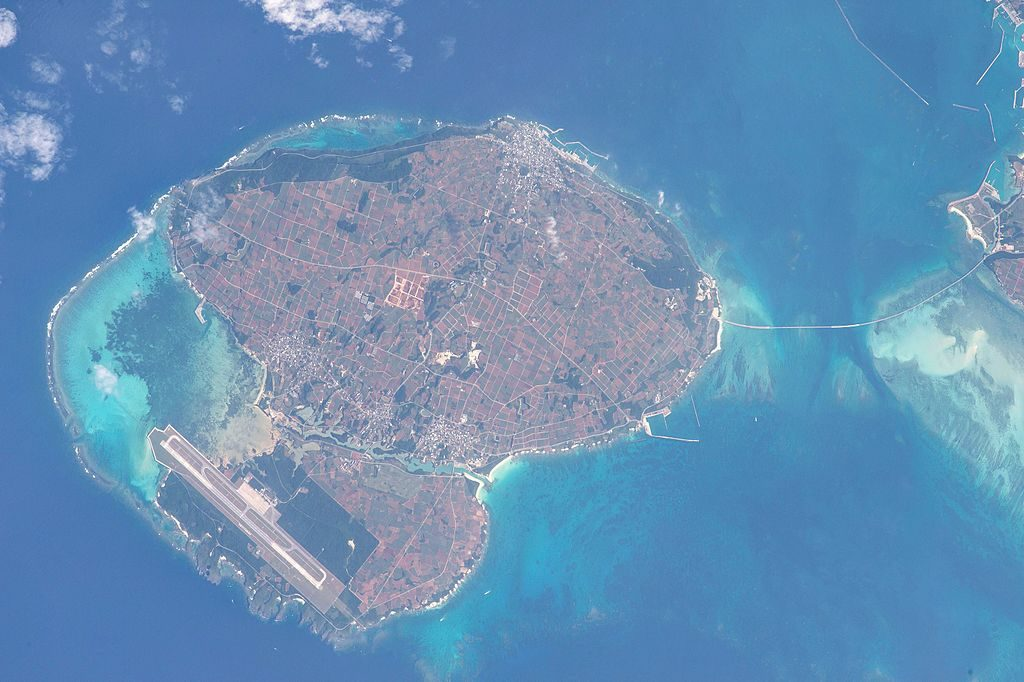 Aerial view of Irabu island. Public domain by Nasa.