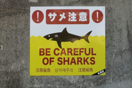 Shark warning on Okinawa beach. Photo © touristinjapan.com