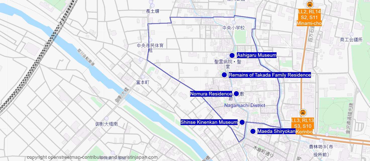 Map of Nagamachi District, Kanazawa. © openstreetmap-contributors and touristinjapan.com