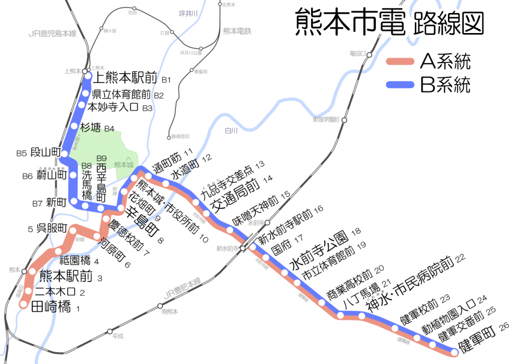 Map of Kumamoto Tram Network. Map by Hisagi. CC BY-SA 3.0.