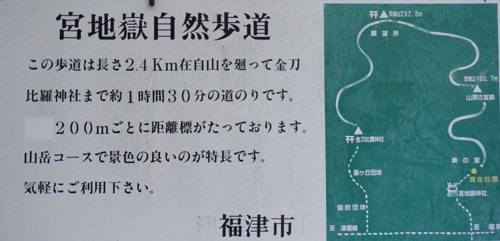 Hiking map shown near Miyajidake Shrine, Fukutsu. © touristinjapan.com