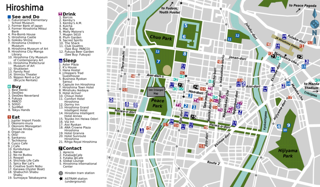 Map of central Hiroshima. Map by Marc Heiden. CC BY-SA 4.0.