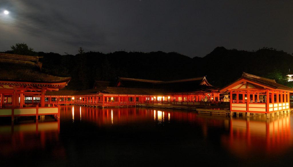 Itsukushima Shrine under the moonlight. Photo by Rosino of flickr. CC BY-SA 2.0.