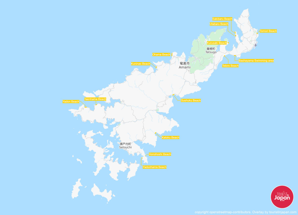 Map of major beaches on Amami Island. Map copyright openstreetmap-contributors. Overlay by touristinjapan.com