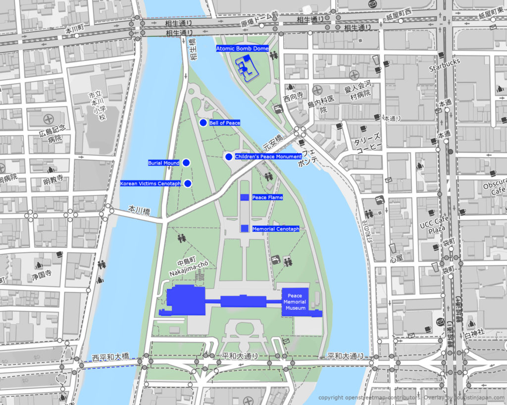Hiroshima Peace Park map. Map copyright openstreetmap-contributors. Overlay by touristinjapan.com
