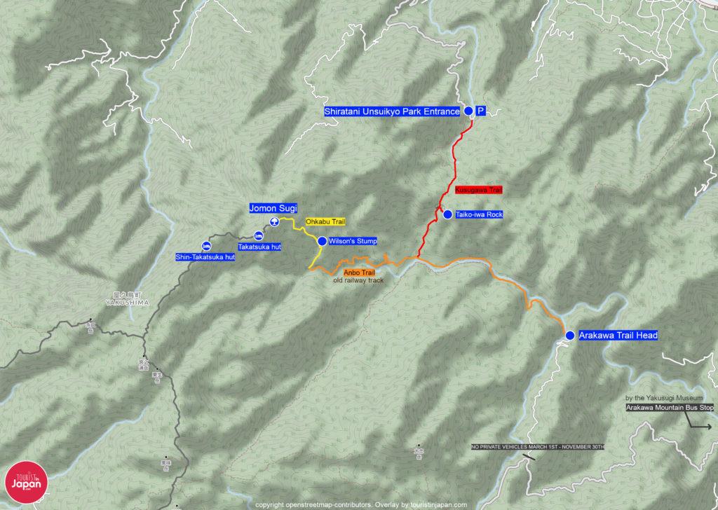 Jomon Sugi Hiking Map. Map copyright openstreetmap-contributors. Overlay by touristinjapan.com