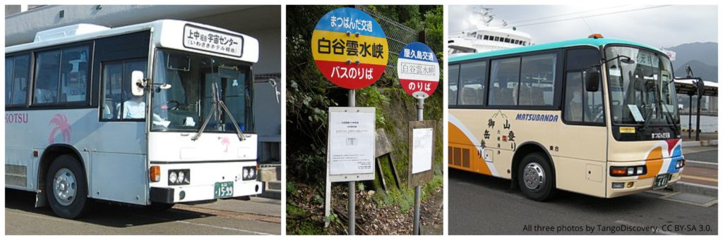 Busses on Yakushima. Left: Tanegashima Yakushima Kotsu. Right: Matsubanda Kotsu. All photos by TangoDiscovery (wikimedia commons). CC BY-SA 3.0.