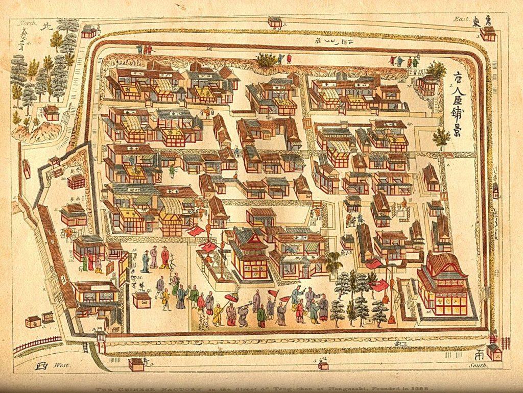 Map of Tojin yashiki, dated 1688. Public Domain.