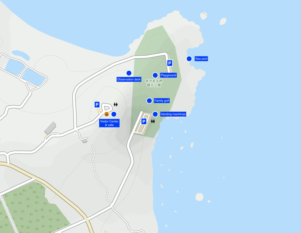 Map of Ayamaru Misaki Kanko Park, Amami Island. Map copyright by openstreetmap-contributors.